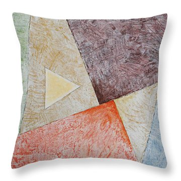 Throw Pillow featuring the painting Suprematist Composition No 3 With A Triangle by Ben Gertsberg
