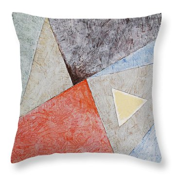 Throw Pillow featuring the painting Suprematist Composition No 4 With A Triangle by Ben Gertsberg