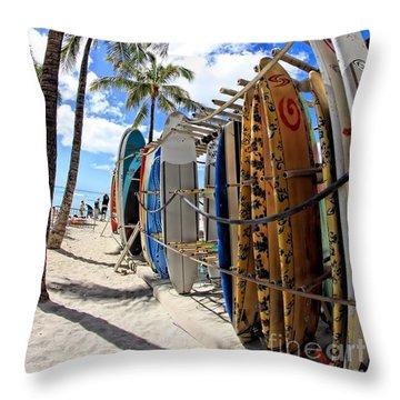 Surf And Sun Waikiki Throw Pillow