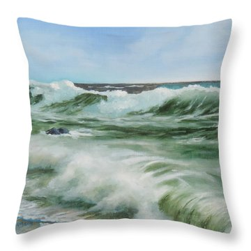 Surf At Castlerock Throw Pillow by Barry Williamson
