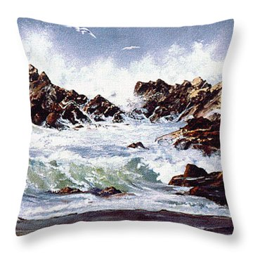 Throw Pillow featuring the painting Surf At Lincoln City by Craig T Burgwardt
