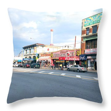 Surf Avenue In Coney Island Throw Pillow