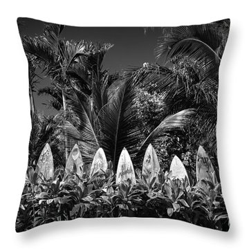 Surf Board Fence Maui Hawaii Black And White Throw Pillow