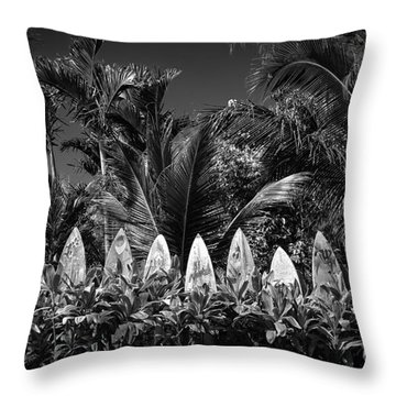 Throw Pillow featuring the photograph Surf Board Fence Maui Hawaii Black And White by Edward Fielding
