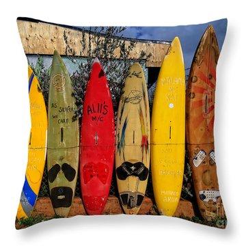 Surf Board Fence Maui Hawaii Throw Pillow by Edward Fielding