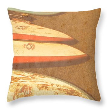 Surf Boards On Beach Throw Pillow