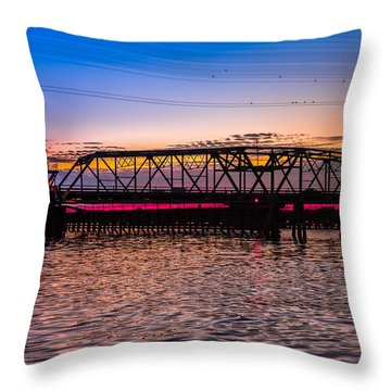 Surf City Swing Bridge Throw Pillow