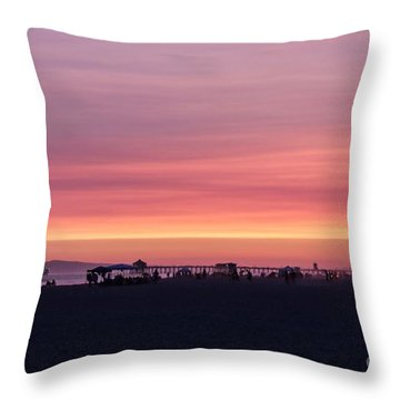 Throw Pillow featuring the photograph Surf City Sunset by Kevin Ashley