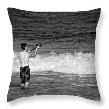 Surf Fishing Throw Pillow by Mark Miller