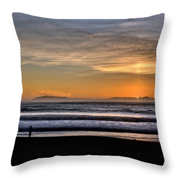 Throw Pillow featuring the photograph Surf Fishing by Michael Gordon