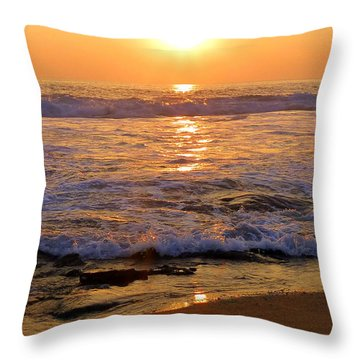 Surf Meets Sand At Sunset Throw Pillow