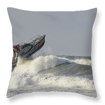 Surf Rescue Boat Throw Pillow