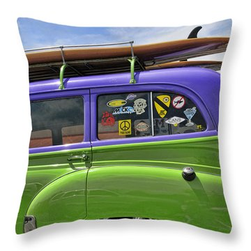 Surf Wagon Throw Pillow by Kenny Francis