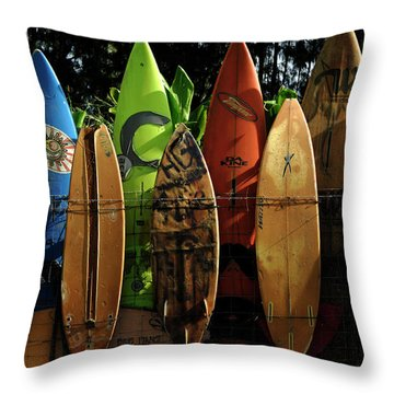 Surfboard Fence 4 Throw Pillow