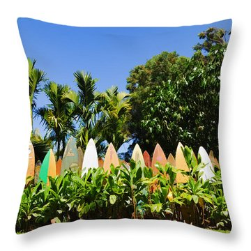 Surfboard Fence - Left Side Throw Pillow by Paulette B Wright