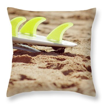 Surfboard Fins Throw Pillow by Carlos Caetano