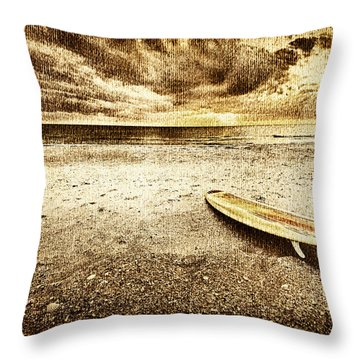 Surfboard On The Beach 2 Throw Pillow by Skip Nall