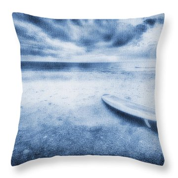 Surfboard On The Beach Throw Pillow by Skip Nall