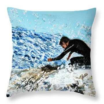 Surfer Throw Pillow by Betty-Anne McDonald