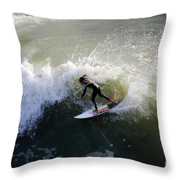 Surfer Boy Riding A Wave Throw Pillow by Catherine Sherman