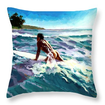 Surfer Coming In Throw Pillow by Douglas Simonson