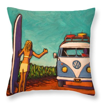 Surfer Girl And Vw Bus Throw Pillow