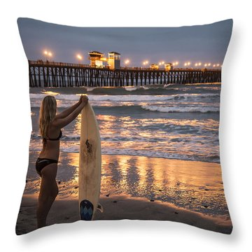 Surfer Girl At Oceanside Pier 1 Throw Pillow by Lee Kirchhevel