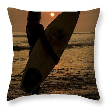 Surfer Girl Sunset Silhouette Throw Pillow