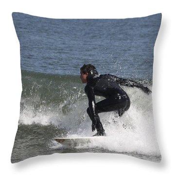 Surfer Hitting The Curl Throw Pillow by John Telfer