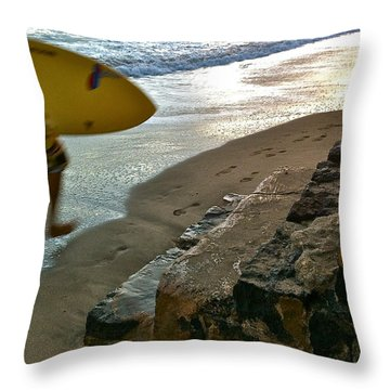 Surfer In Motion Throw Pillow