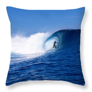 Surfer In The Sea, Tahiti, French Throw Pillow by Panoramic Images