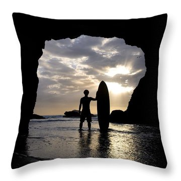 Surfer Inside A Cave At Muriwai New Throw Pillow by Deddeda