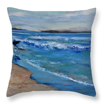 Surfer Throw Pillow by Lindsay Frost