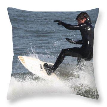 Surfer On White Water Throw Pillow by John Telfer