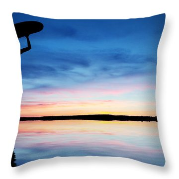 Surfer Silhouette Throw Pillow by Aged Pixel