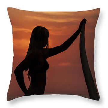 Surfer Sunset Silhouette Throw Pillow by Lee Kirchhevel