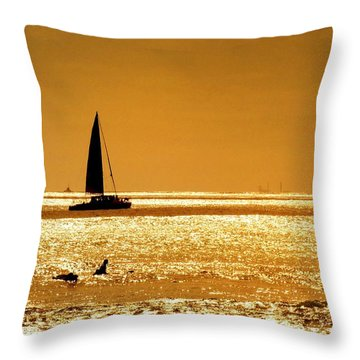 Surfers And Sailboats Throw Pillow