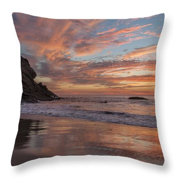 Surfers And Sunset At Strands Beach Dana Point Throw Pillow