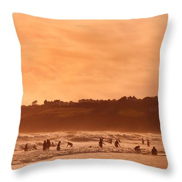 Surfers In Tramore Bay, County Throw Pillow