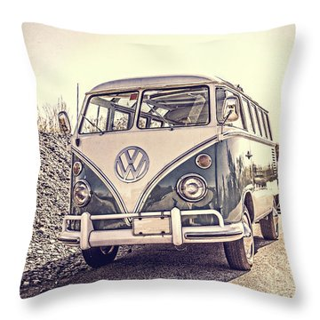 Surfer's Vintage Vw Samba Bus At The Beach Throw Pillow by Edward Fielding