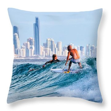 Surfing Burleigh Throw Pillow