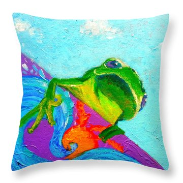 Surfing Froggie Throw Pillow