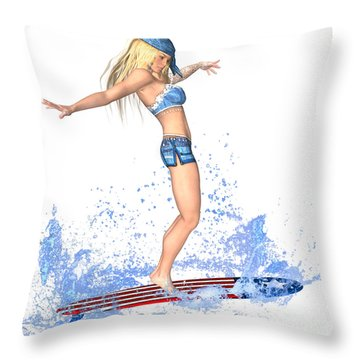 Surfing Girl Throw Pillow