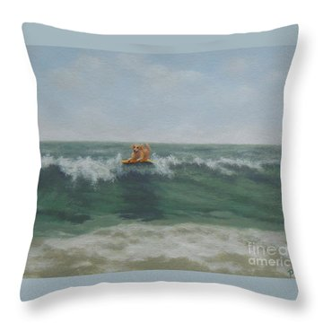 Surfing Golden Throw Pillow