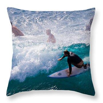 Surfing Maui Throw Pillow by Adam Romanowicz