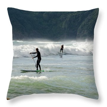 Surfing On Paddle Boards Throw Pillow