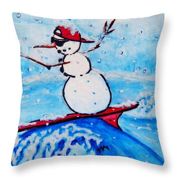 Surfing Snowman Throw Pillow