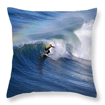 Surfing Under A Rainbow Throw Pillow