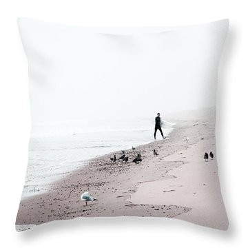 Surfing Where The Ocean Meets The Sky Throw Pillow