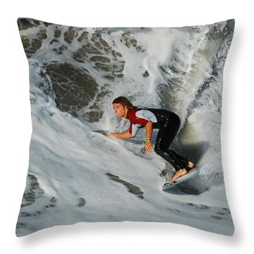 Surfs Up Throw Pillow by James Kirkikis